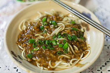 Taiwanese Mixed Noodles With Ground Meat Sauce, Jincheng, Kinmen Island, Taiwan