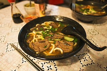Traditional Taiwanese Beef Noodle Soup Made In A Jincheng's Local Restaurant, Kinmen Island, Taiwan
