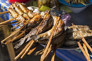 Barbecued Fish In Battambang Market, Battambang, Cambodia