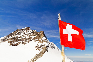 View From Jungfrau And Swiss Flag, Bernese Oberland, Switzerland