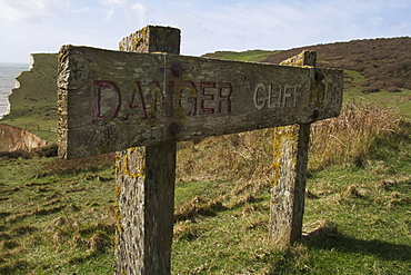 Danger Cliff Edge Wooden Sign, Seven Sisters, South Downs, East Sussex, England