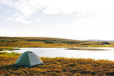 Lakeside Tent At Sunrise, Denali National Park, Alaska, United States Of America