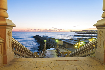 Sunset In The Beautiful Sitges Downtown, Village Near To Barcelona, Sitges, Spain