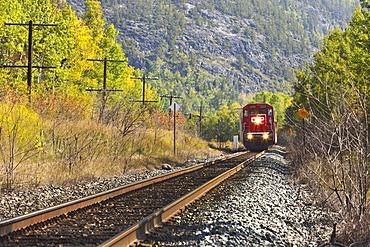 Train On The Tracks In Autumn, Wawa, Ontario, Canada