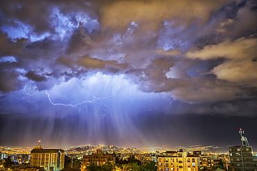 Lightning Lights Up The Night Skies Above The City Of Cochabamba, Cochabamba, Bolivia