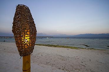 Lamp On The Beach At Dusk, Gili Trawangan, West Nusa Tenggara, Indonesia