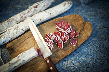 Catalan Cured Meat Known As Fuet, Tarragona, Benissanet, Spain