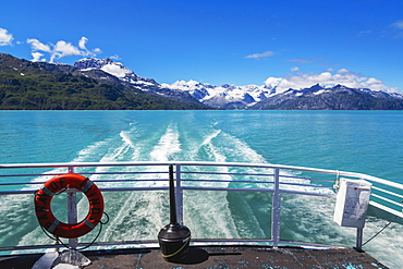 View Of The Fairweather Range From The Stern Of A Boat, Glacier Bay National Park, Southeast Alaska, Summer