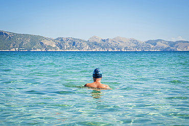 Back Of A Male Swimmer, Cala Sant Joan, Alcudia, Mallorca, Spain