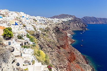 Rugged Cliffs Of A Greek Island, Santorini, Greece