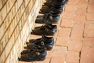 Shoes Neatly Organized In Orphanage, Hammanskraal, Gautang, South Africa