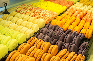Close Up Of Colourful Macaroons In A Bakeries Display Case, Morlaix, Brittany, France