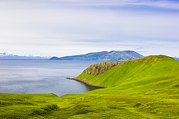 Scenic View Of The Green Bluffs Along The Shore Of Popof Island Near Sand Point, Southwestern Alaska, USA, Summer