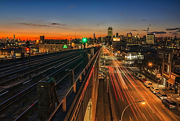 Sunset Over Sunnyside, Queens With Manhattan In Background, New York City, New York, United States Of America