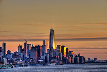 Sunset Over Lower Manhattan And The World Trade Centre, New York City, New York, United States Of America