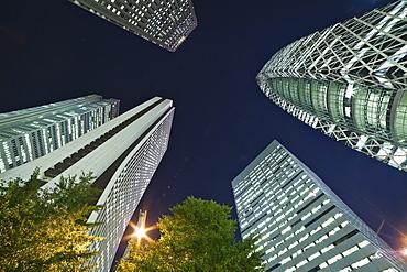 Skyscrapers Illuminated At Nighttime, Tokyo, Japan