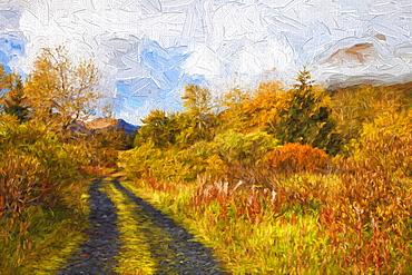 Autumn Scenic Oil Painting Along Chiniak Highway, Kodiak, Alaska, United States Of America
