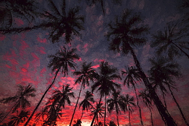 Sunrise At Puuhonua O Hnaunau National Historical Park, Place Of Refuge, Kona, Island Of Hawaii, Hawaii, United States Of America