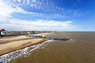 Colourful Resort Houses Along The Beach, Southwold, Suffolk, England