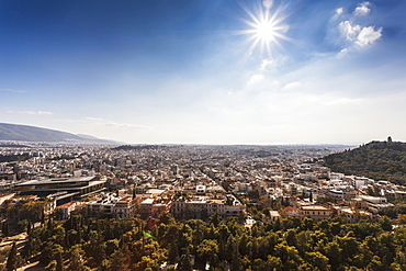 View Of Athens From The Acropolis Towards The Southwest, The Saronic Golf Of Mediterranean Can Be Seen In The Distance, Athens, Greece