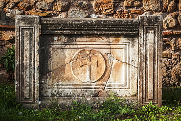 Cracked Stone Structure With A Cross, Delphi, Greece