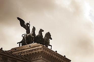 On Either Side Of The Roof-Top Viewing Area Was The Goddess Victoria Riding On Quadrigas, Rome, Italy