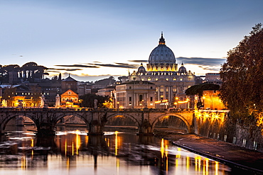 Saint Peter's Basilica, The World's Largest Church, At Sunset, Vatican City, Italy