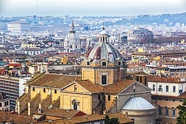 Dome Of Church Roof With Cross And Various Other Buildings, Rome, Italy