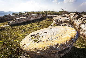 Stone Base Of A Pillar, Sebastia, Samaria, Israel