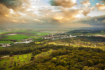 Mount Carmel With Glowing Clouds Over Jezreel Valley, Israel