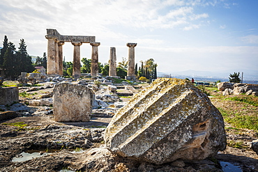 Stone Ruins With Columns And A Boulder, Corinth, Greece