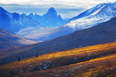 The North Klondike Valley Lights Up Along The Dempster Highway With Tombstone Mountain In The Distance, Yukon, Canada