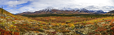 Panoramic View Of The Ogilvie Mountains Along The Dempster Highway, Yukon, Canada