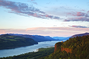 Columbia River At Sunset, Oregon, United States Of America