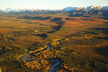 Engineer Creek Runs Through The Landscape Along The Dempster Highway As Seen From The Top Of Sapper Hill, Yukon, Canada