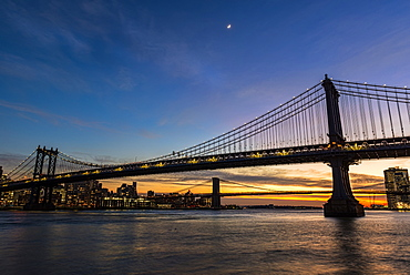 Manhattan And Brooklyn Bridges At Twilight, New York City, New York, United States Of America