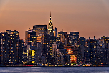 Midtown Manhattan Skyline At Sunset, New York City, New York, United States Of America