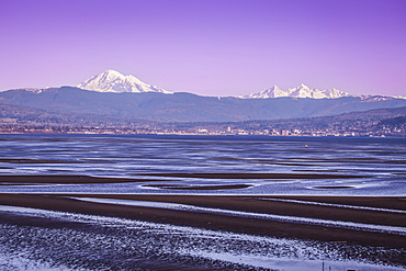 Mount Baker And Bellingham, Washington From Across Bellingham Bay, Bellingham, Washington, United States Of America