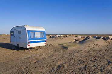 Camping Trailer On A Beach, Camargue, Provence, France