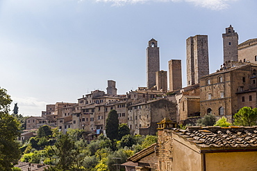A Rooftop Viewpoint Of The Walled Medieval Village Of San Gimignano In The Province Of Siena, San Gimignano, Siena, Tuscany, Italy