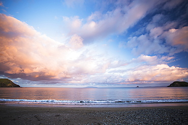 A Sunset On A Northern Coromandel Beach Of Port Jackson, Waikato, New Zealand