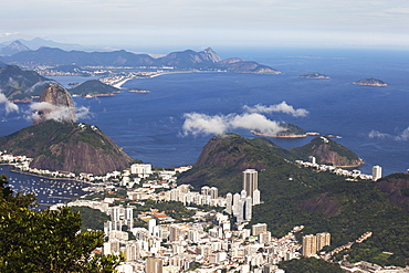 View Of Rio And Sugarloaf Mountain From Christ The Redeemer Statue, Corcovado Mountain, Tijaca National Park, Rio De Janeiro, Brazil