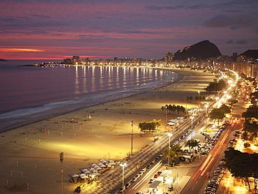Copacabana Beach And Avenue Atlantica In The Evening, Rio De Janeiro, Brazil