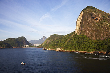 Tiburcio Beach, Christ The Redeemer Statue And Sugarloaf Mountain, Rio De Janeiro, Brazil