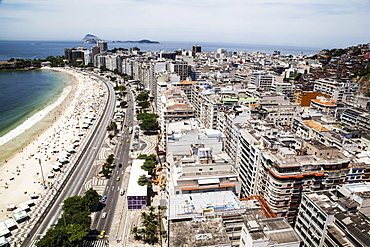 The View Of Copacabana Beach From Above Looking Towards Ipanema, Rio De Janeiro, Brazil
