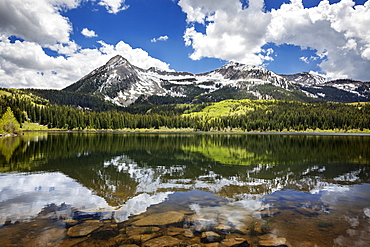 Snowcapped East Beckwith Mountain In The Background Reflected In Lost Lake Slough, Colorado, United States Of America