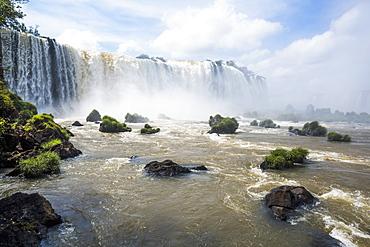 Grassy Rocks At Foot Of Iguazu Falls, Parana, Brazil