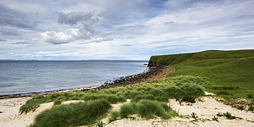 Sand And Grass On The Shore With A View Of The Coastline, Caithness, Scotland