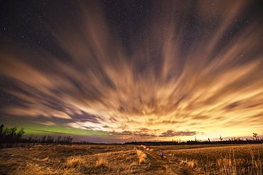 Night Sky With Aurora Borealis, Thunder Bay, Ontario, Canada