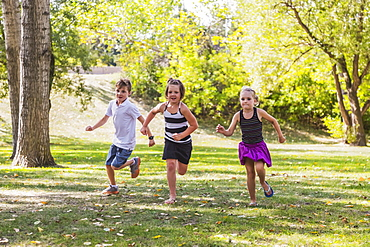 Three Siblings Racing In A Park, Edmonton, Alberta, Canada
